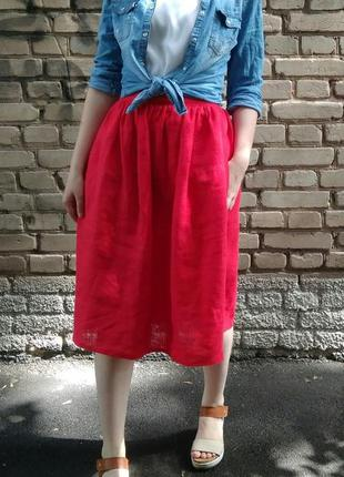 Акция! яркая красная пышная алая юбка лён натуральный из льна р xs-xxl3 фото