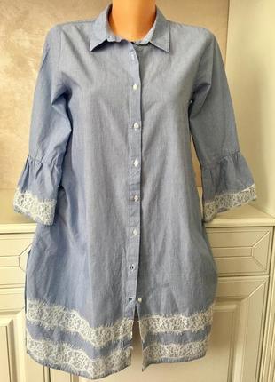 В стиле zara  трендовое котоновое платье рубашка с рукавом- воланом