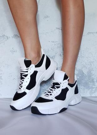 Черно-белые кроссовки кожа и неопрен бренд calvin klein р.39