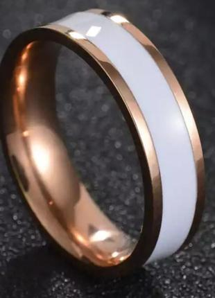 Кольцо белое нержавеющая сталь золото колечко