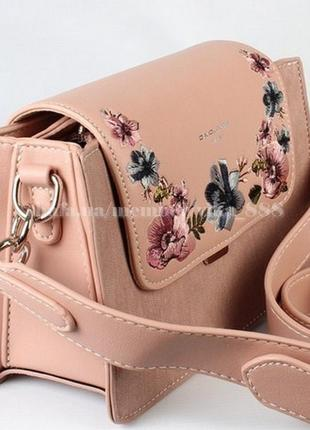 Сумка через плечо с вышивкой, кросс-боди david jones 5997 пудровая/розовая