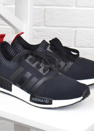 Кроссовки мужские летние adidas boost black текстильные черные с красным
