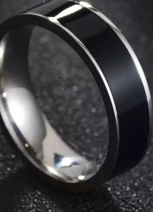 Колечко серебро черное нержавеющая сталь кольцо