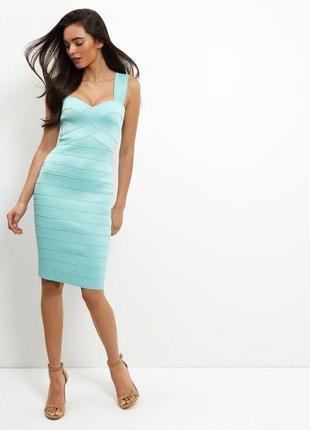 Новое бирюзовое бандажное платье new look