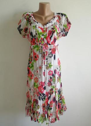 🌹нежное платье миди в цветочный принт 🌹 белое платье s.oliver в цветы