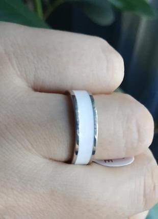 Кольцо белое серебро нержавеющая сталь колечко