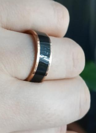Кольцо колечко нержавеющая сталь черное золото