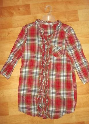 Рубашка  удлиненная клетка рюши фланель тонкая хлопок. р. s - h&m