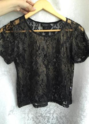 Кружевная майка topshop xs/s блуза с золотистым напылением