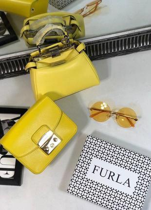Сумка сумочка кожаная клатч жёлтая натуральная furla metropolis