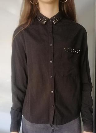 Чёрная рубашка блуза блузка