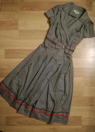 Фирменное,элегантное платье на запах,платье халат в клетку пышной юбкой большой размер