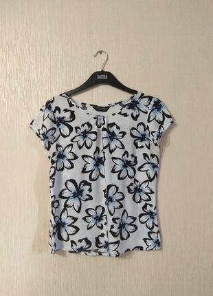 Белая футболка блузка в цветы dorothy perkins размер м