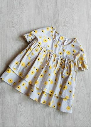 Топ блуза футболка baby doll в цветочный принт подсолнухи с рюшами оборками воланами