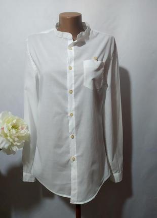 Хлопковая удлиненная рубашка без воротника