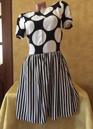 Стильное платье в горошек/в полоску сарафан