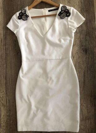 Белое платье zara украшение футляр коктейль нарядное свадьба выпускной
