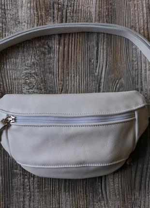 Поясная сумка 024 (белый) натуральная кожа.