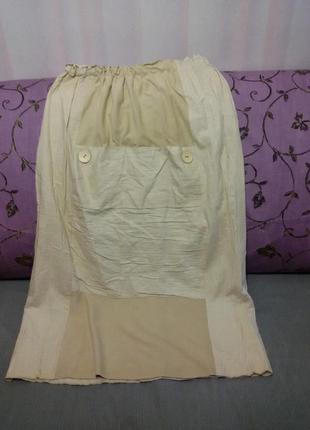 Юбка длинная льняная с карманом большой размер ( поб до 67 см)