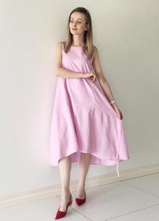 Супер платье нежно-розового цвета из натурального льна натуральный лён