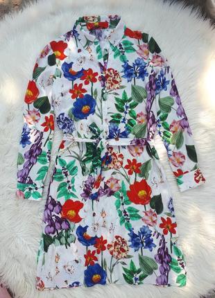 Шикарное платье-рубашка в цветочный принт с карманами #zara# раз.m