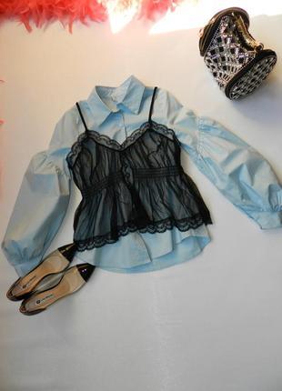 ✅рубашка блуза 2 в 1 рукав фонарик волан майка сетка