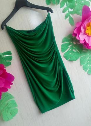Шикарное летнее вечернее выпускное платье короткое зелёное
