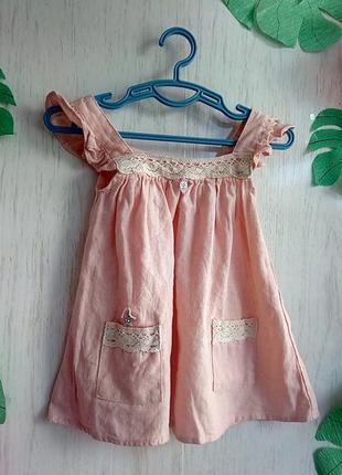 Нарядное платье девочке на 6 мес  - 1 годик -   лен