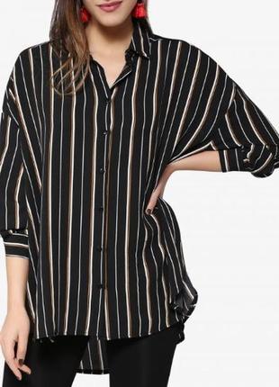 Симпатичная рубашка с вискозы в полоску длинный рукав new look