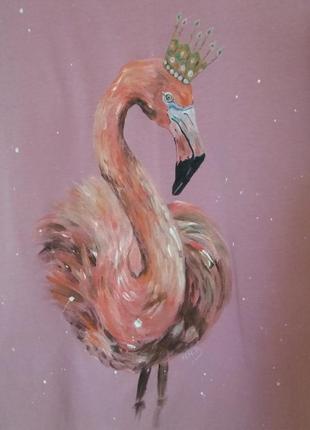 Футболка ручная роспись фламинго р.с