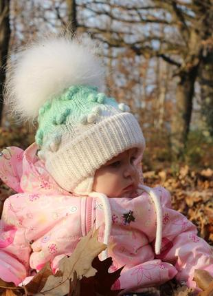 Вязана шапка з помпоном,  зимова шапка для дівчаток,  шапка з помпоном,
