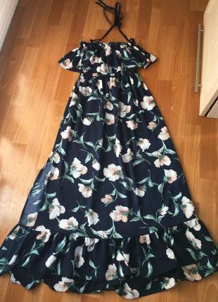 Шикарное летнее макси платье в пол с рюшами