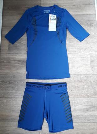 Спортивный комплект компрессионный футболка шорты crane xs-s