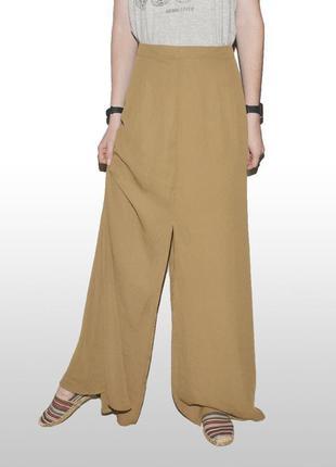 Горчичная юбка с разрезом prettylittlething3 фото