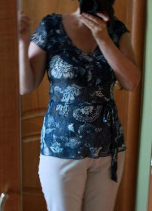 Летняя туника m&s per una блуза блузка майка легкая сетка цветочный принт пляжная