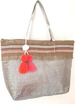 Пляжная сумка серебряного цвета pronto moda (италия)