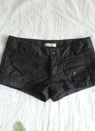 Джинсовые черные шорты с блестящими вкраплениями zara trf collection 28р.
