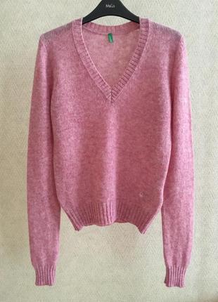 Шерстяной свитер с v-образным вырезом benetton