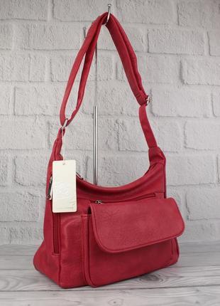 Мягкая, вместительная женская сумка paolo bags 238 красная, италия