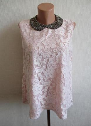 Нежно-розовая кружевная гипюровая блуза select