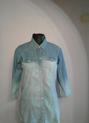 Легкая джинсовая рубашка -туника 12размер