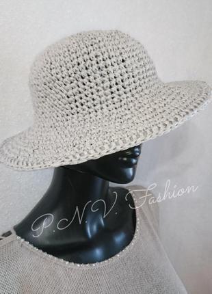 Летняя шляпа панама натуральная рафия
