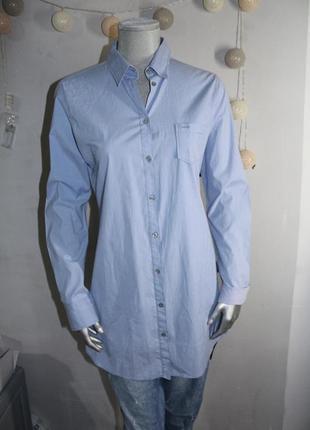 Голубая удлиненная рубашка marc o polo