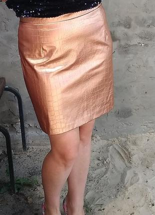 Юбка кожзам бронзового цвета