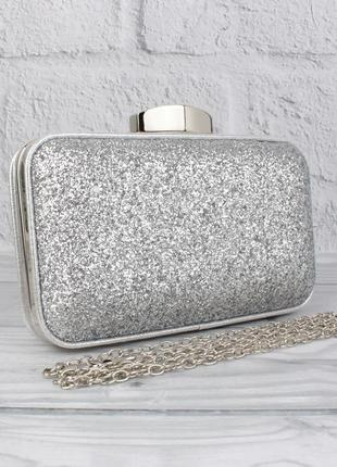 Вечерний клатч rose heart 18134 серебристый с блестками, сумочка на цепочке