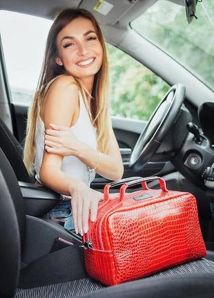 Кожаная красная сумка-саквояж