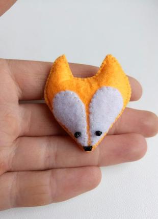 Брошь лиса, брошка лисичка рыжая фетровая!