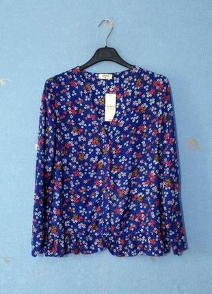 Оригинальная мягкая блузка рубашка цветочный принт