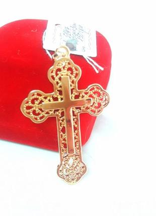Кулон крест позолота, крестик позолоченный
