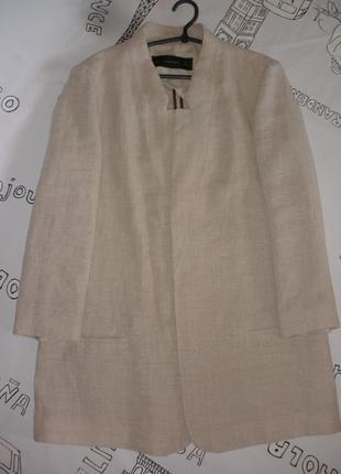 Льняной длинный жакет, летнее пальто zara без застежки